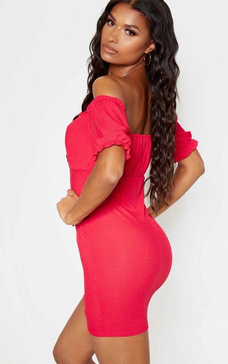 Red Tie Front Bardot Jersey Bodycon Dress 2