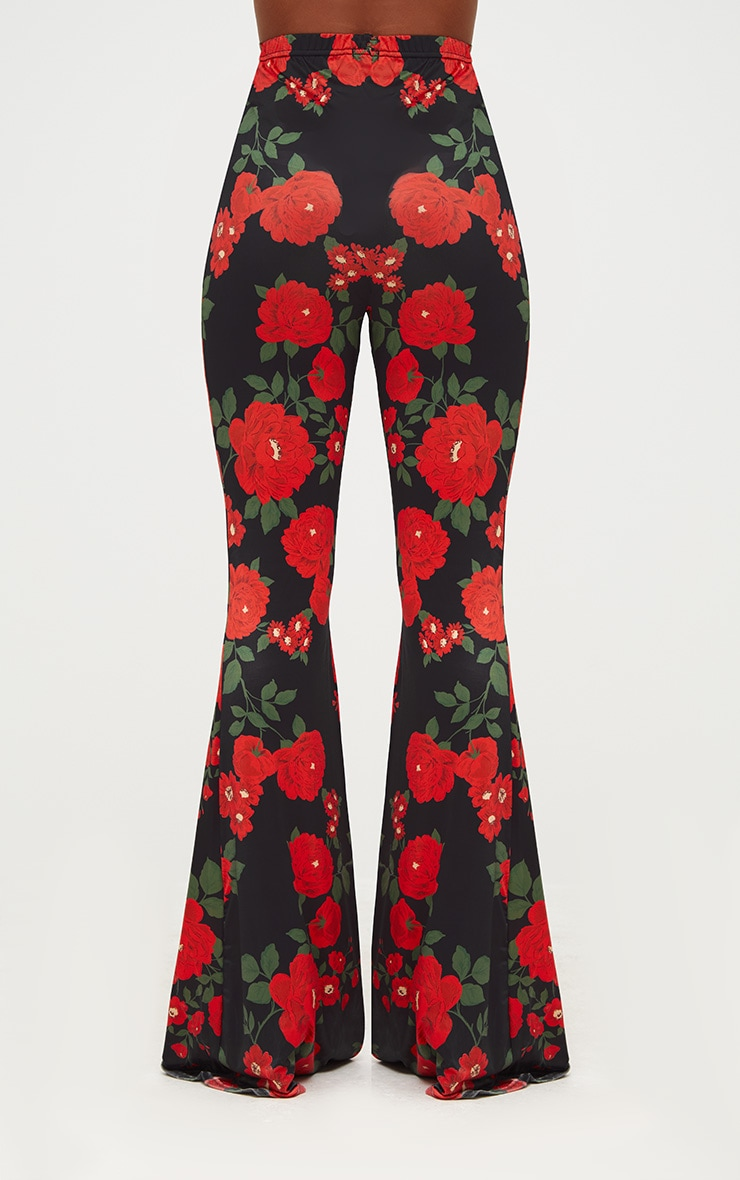 Black Floral Print Slinky Flared Trousers 3