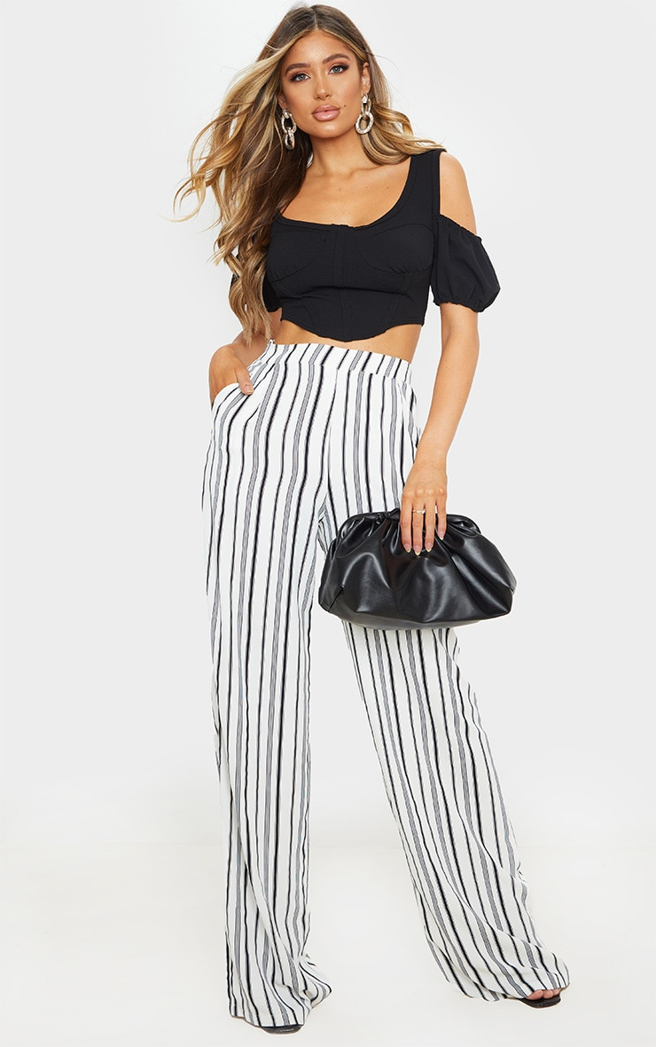 White Stripe Print Wide Leg Pants 1