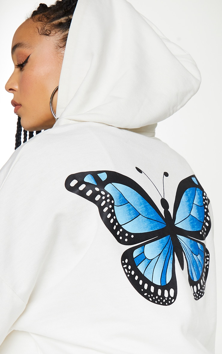 White Butterfly Oversized Hooded Jacket 4