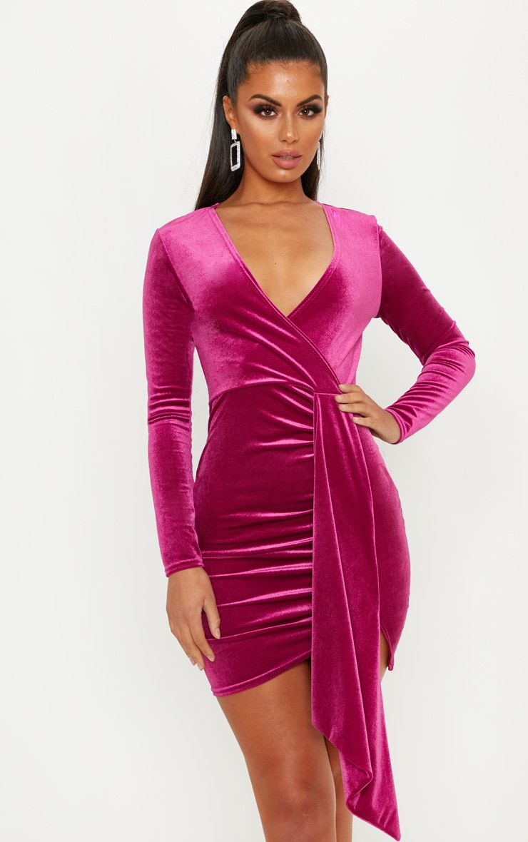 Hot Pink Velvet Drape Detail Bodycon Dress 1