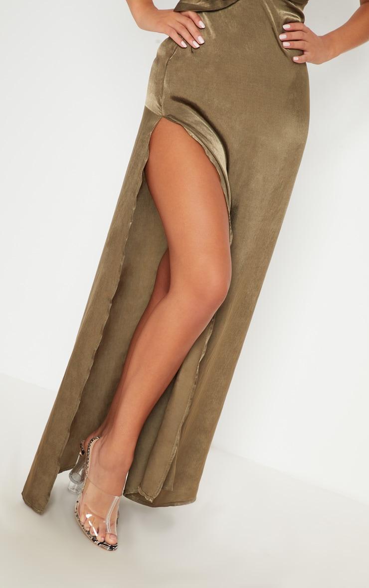 Khaki Satin Asymmetric Ring Detail Maxi Dress 4
