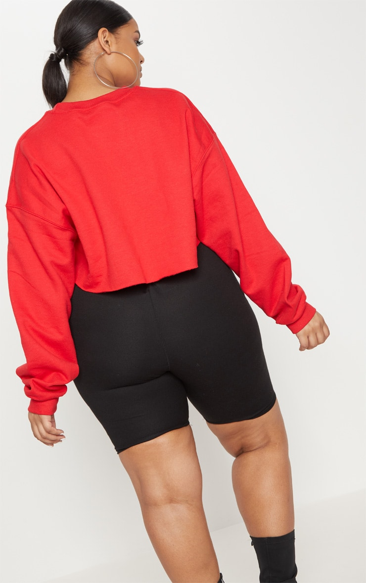 Plus Red Your Loss Babe Cropped Sweater 2