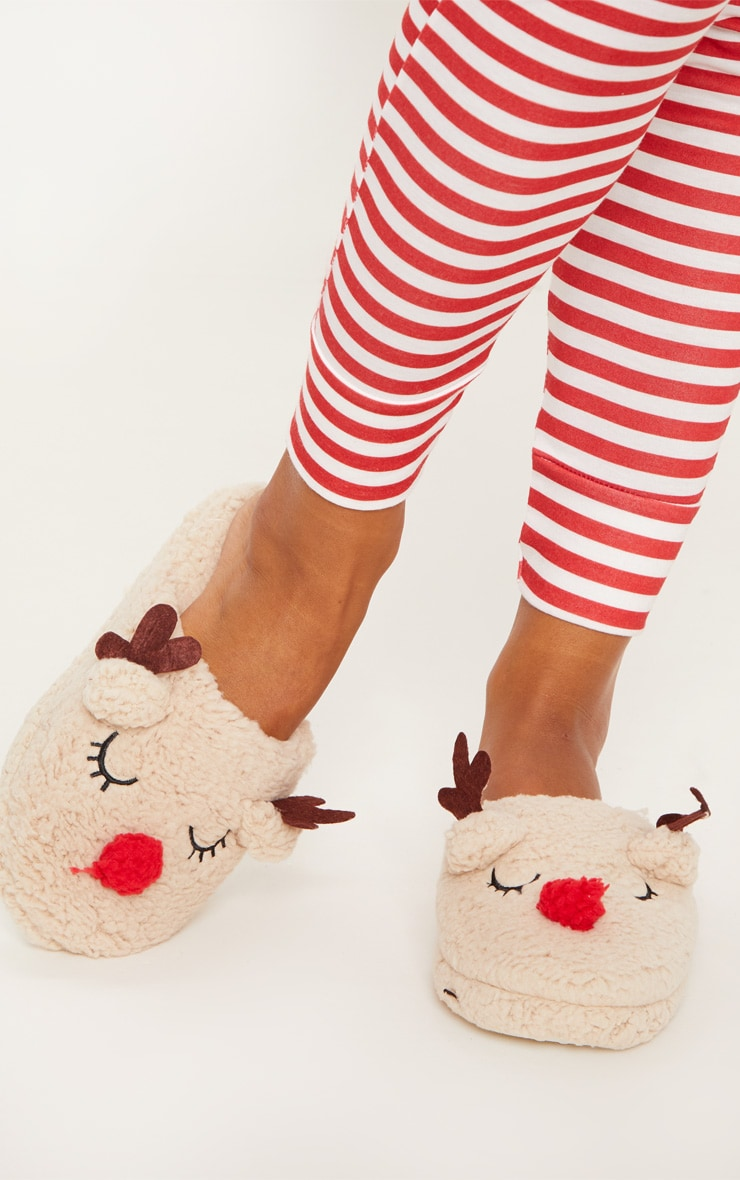 Beige Fluffy Reindeer Slipper