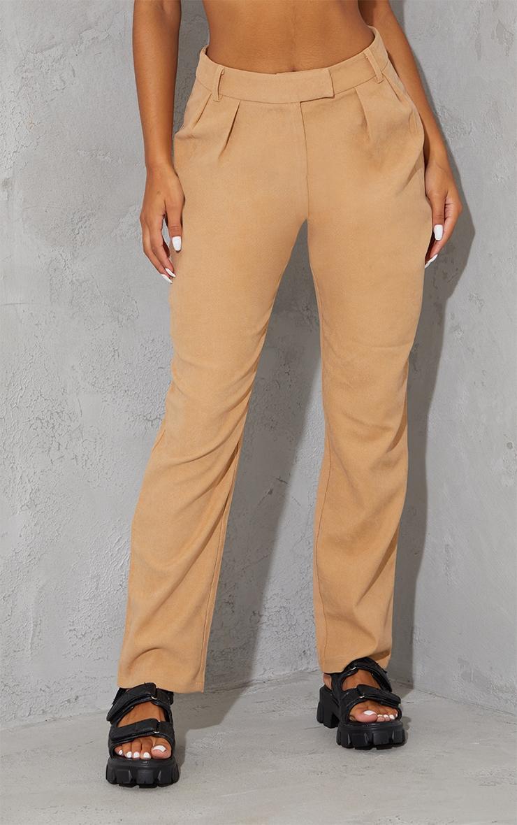Tan Premium Twill Blend Straight Leg Trousers 2