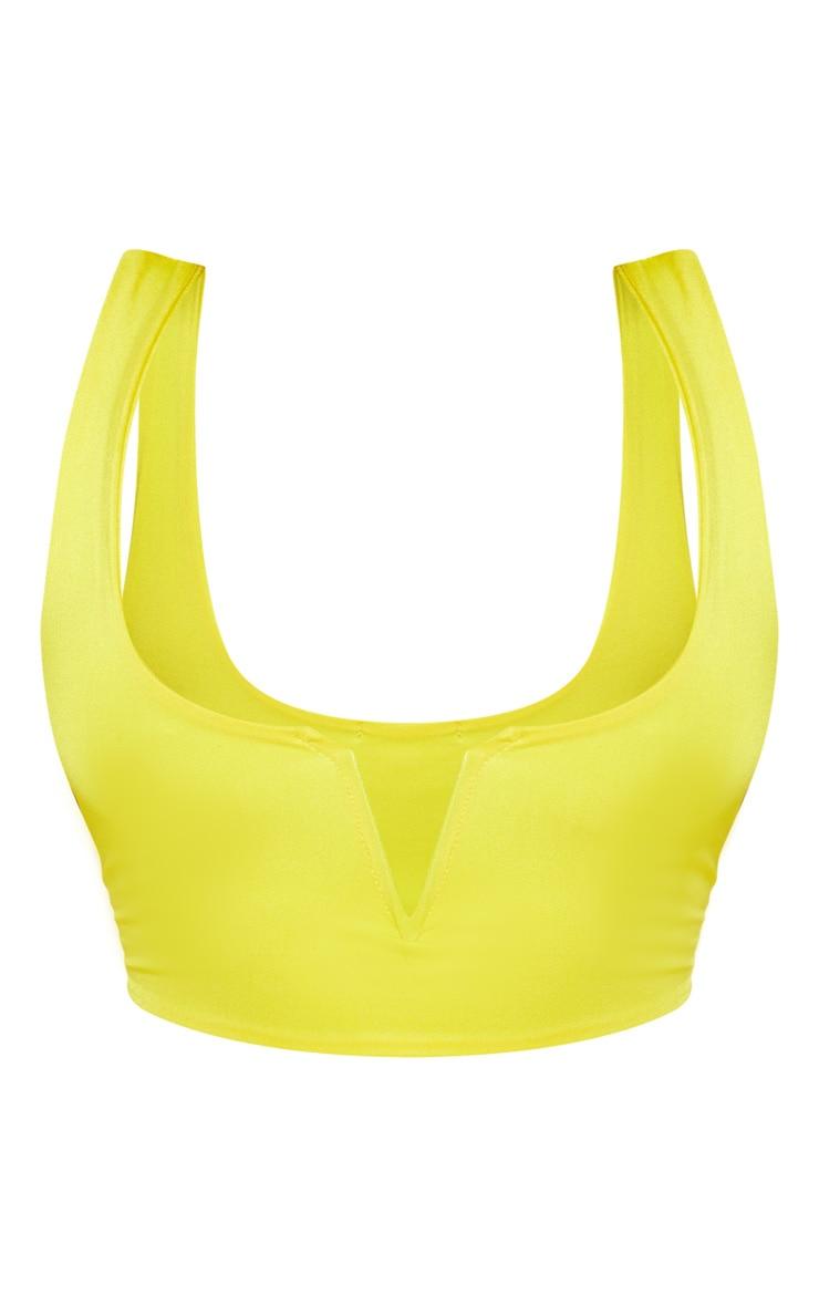 PLT Plus - Haut de maillot de bain jaune flashy à coupe V 3