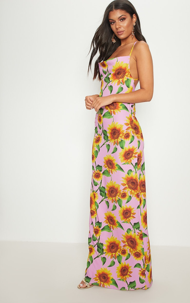 Pink Sunflower Strappy Cowl Back Maxi Dress 4