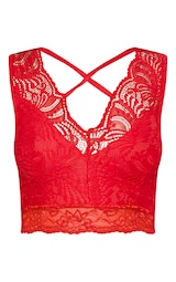 73a64ae80f Red Lace Cross Front Detail Bralet image 3