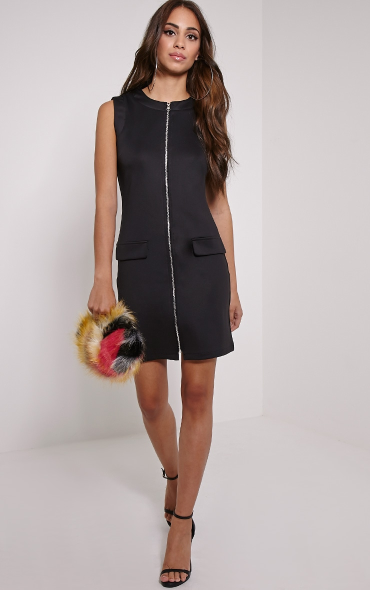 Simone Black Zip Front Shift Dress 1