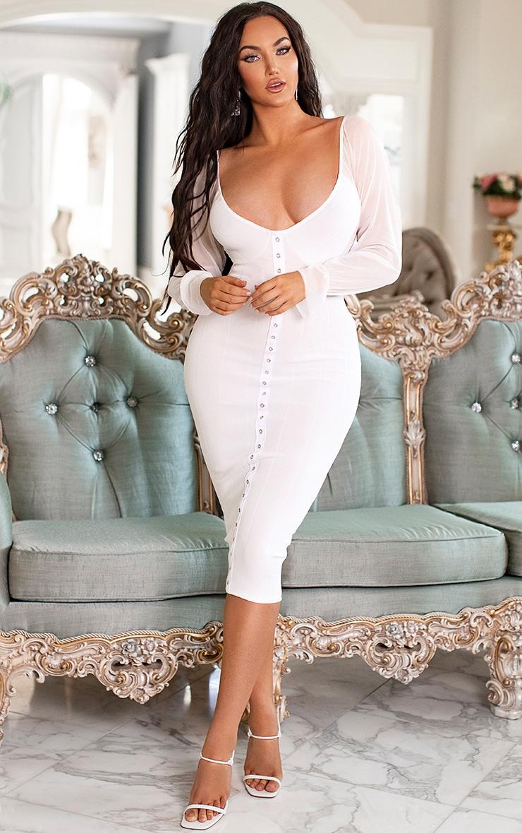 White Hook and Eye Mesh Sleeve Midi Dress 1