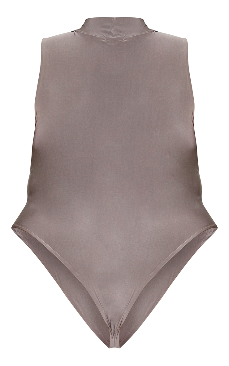 Plus Slate Slinky High Neck Sleeveless Bodysuit 6