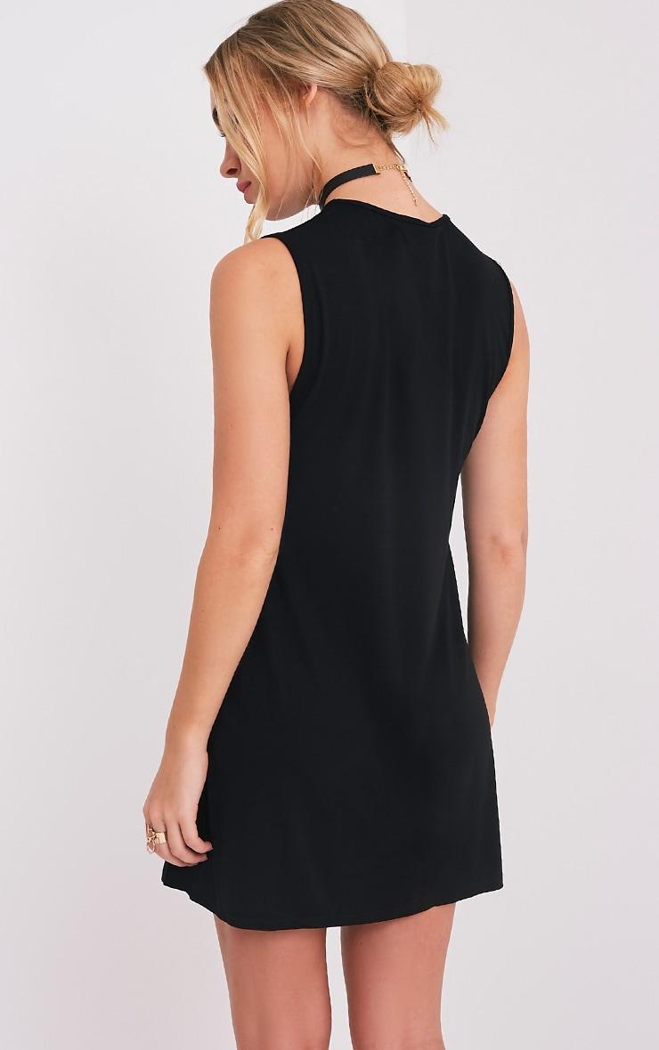 Maddy Black Drop Armhole Sleeveless T-Shirt Dress 2