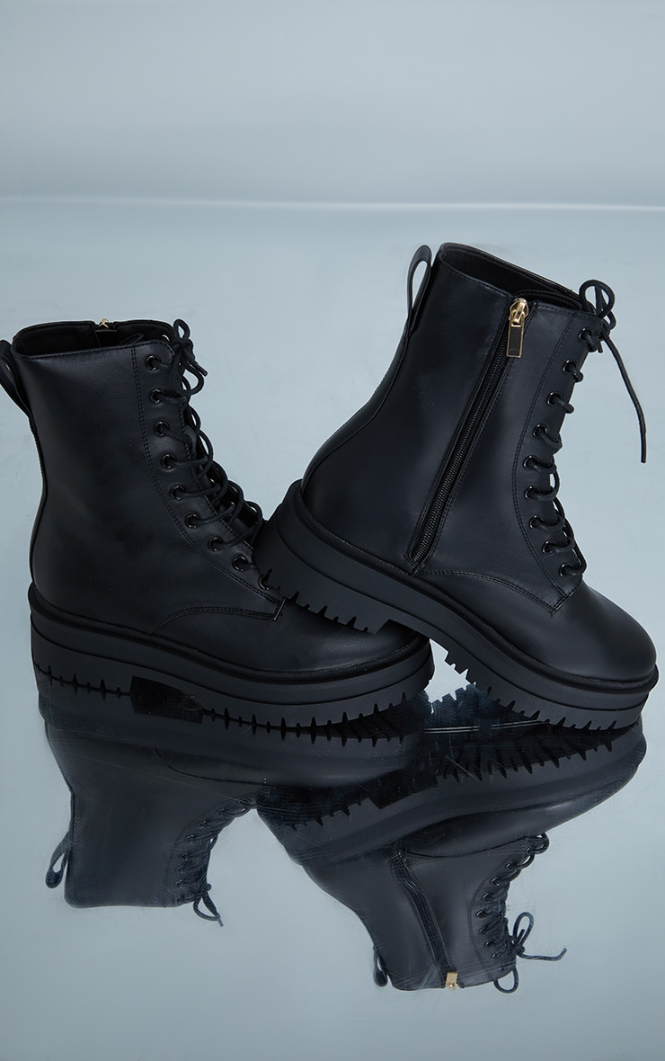 Black Lace Up Chunky Ankle Boots 4