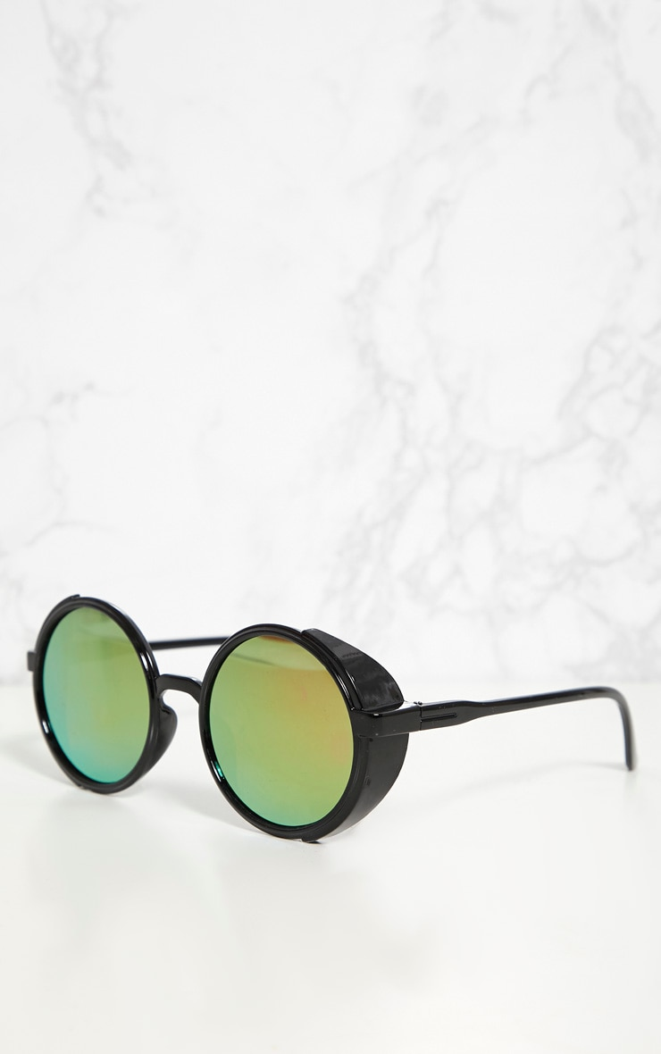 Pink Lens Round Retro Goggle Sunglasses 3