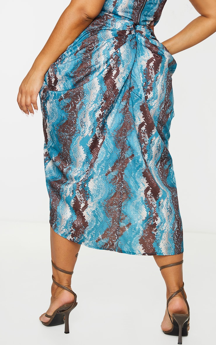 Plus Teal Snake Print  Print Ruched Side Midi Skirt 3