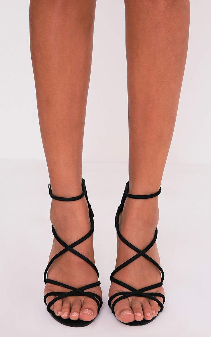 Duaya sandales noires à talons en imitation daim multibrides 3