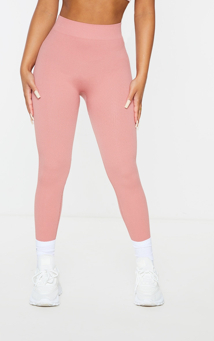 Petite Clay Structured Contour Ribbed Leggings 2