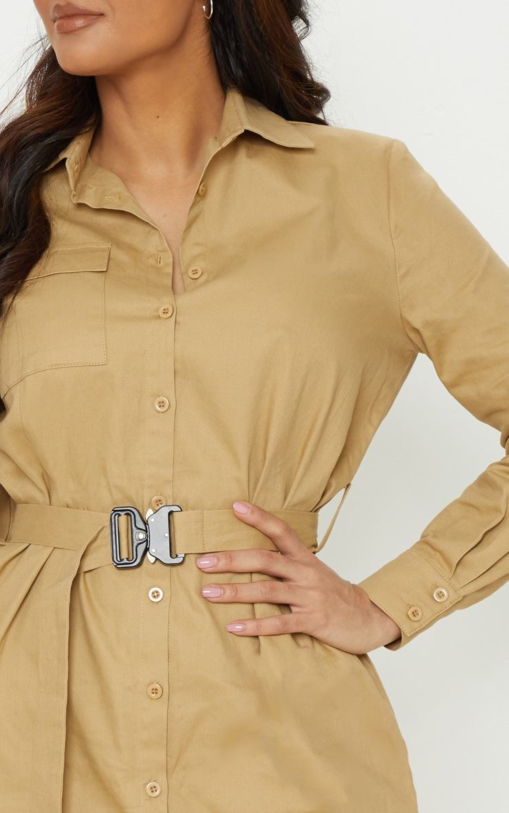 Camel Clasp Detail Buckle Cargo Shirt Dress 5