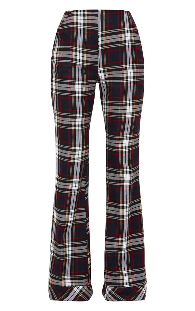Navy Tartan Mix Check Flare Trousers 3