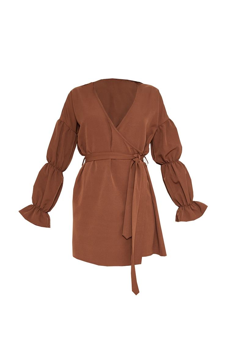 Chocolate Wrap Puff Sleeve Shift Dress 3