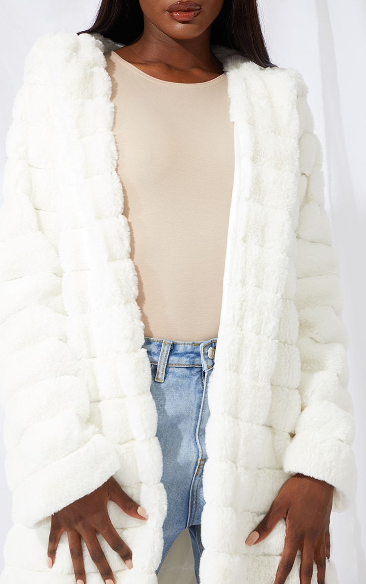 Tall Cream Maxi Bubble Faux Fur Coat 4