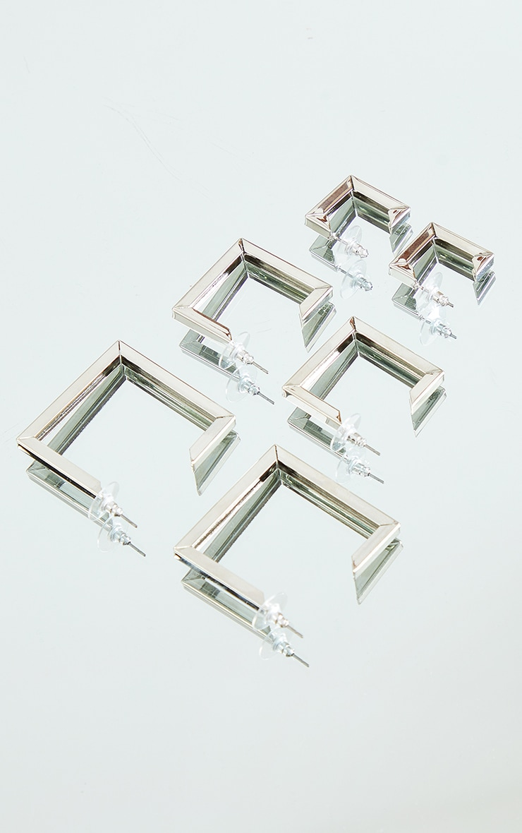 Silver Chunky Square Assorted 3 Pack Hoop Earrings 1