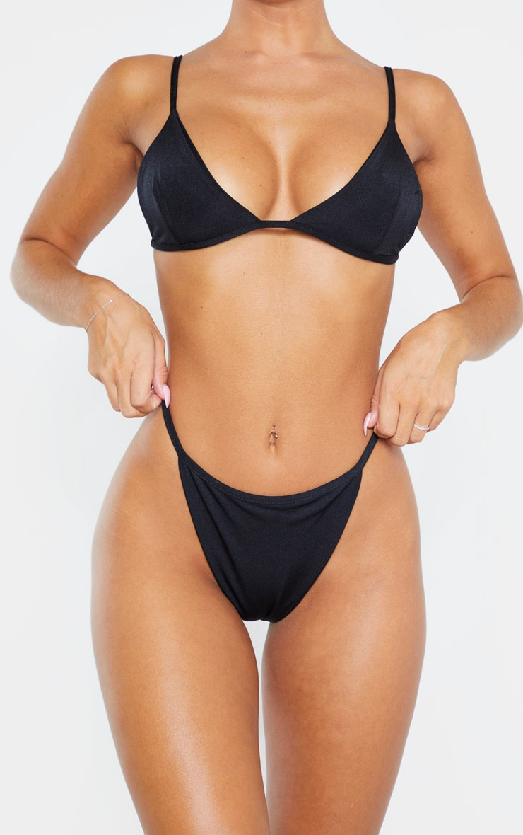 Black Mix & Match String Thong Bikini Bottom 5