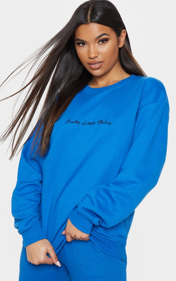PRETTYLITTLETHING Cobalt Embroidered Oversized Sweater 1