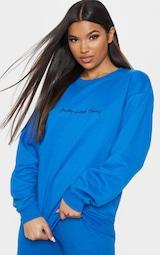 PRETTYLITTLETHING Cobalt Embroidered Oversized Sweatshirt 1