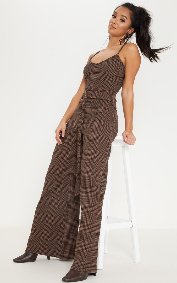 Petite Brown Checked Tortoise Belt Wide Leg Jumpsuit 4