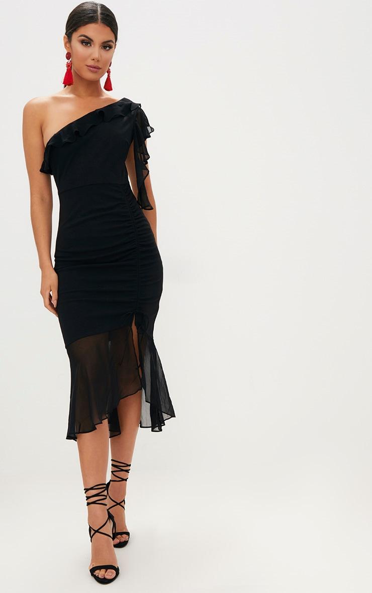 Black Ruched Detail Frill One Shoulder Midi Dress 4