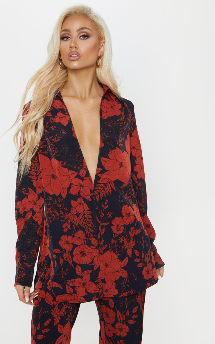 Red Floral Print Oversized Shirt 1