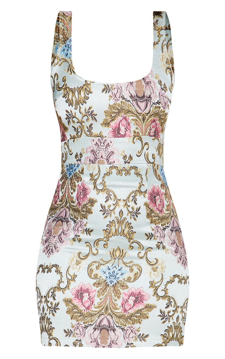 Dusty Blue Floral Jacquard Square Neck Bodycon Dress 3