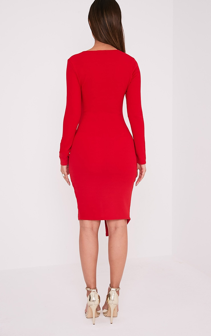 Rosie Red Long Sleeve Wrap Front Midi Dress 2
