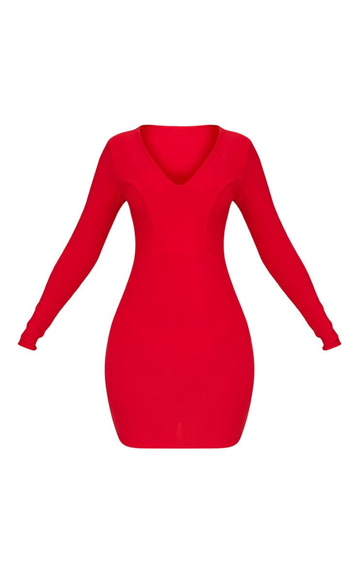Shylo Red Long Sleeve Plunge Bodycon Dress 3