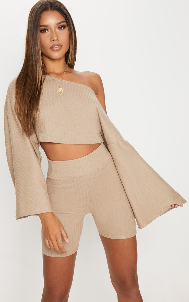 Taupe Rib Off The Shoulder Crop Top 1