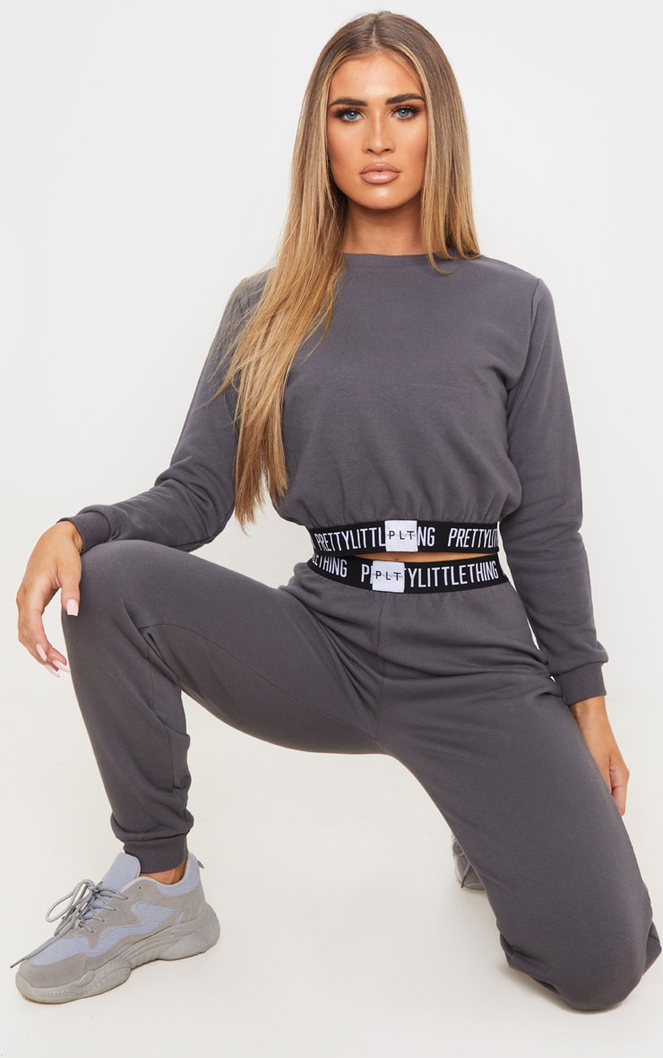 PRETTYLITTLETHING Charcoal Grey Lounge Sweater 4