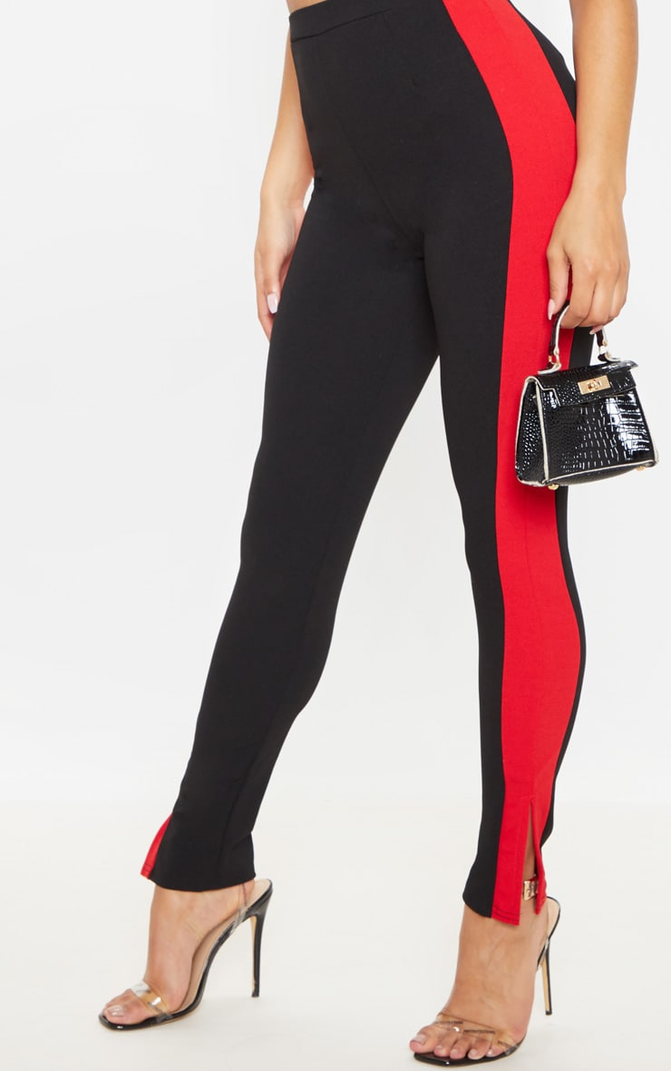 Black Contrast Stripe Split Trousers  5