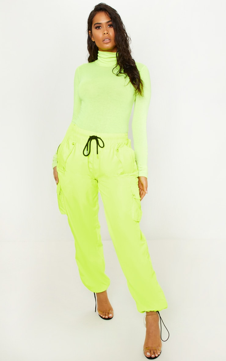 Neon Yellow Fine Knit Roll Neck Bodysuit 5