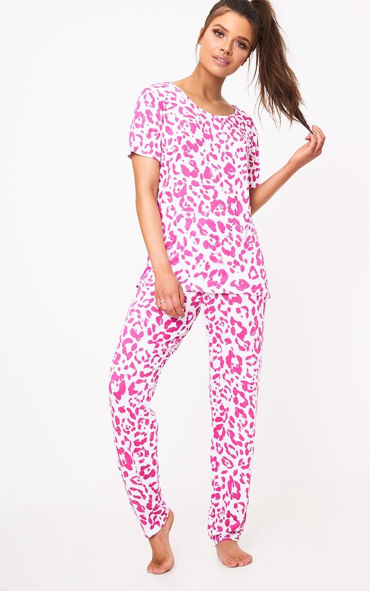 Pink Leopard Print PJ Set 1