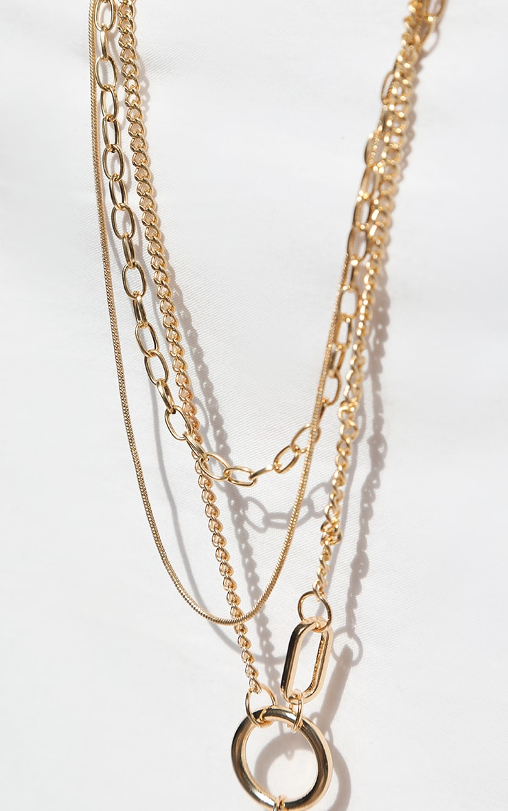 Gold Multi Coin Layering Necklace 4