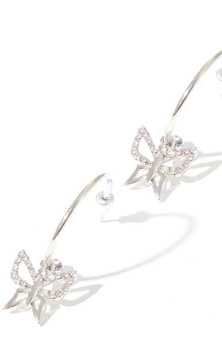 Silver Diamante Dainty Cut Out Butterfly Hoop Earrings 2