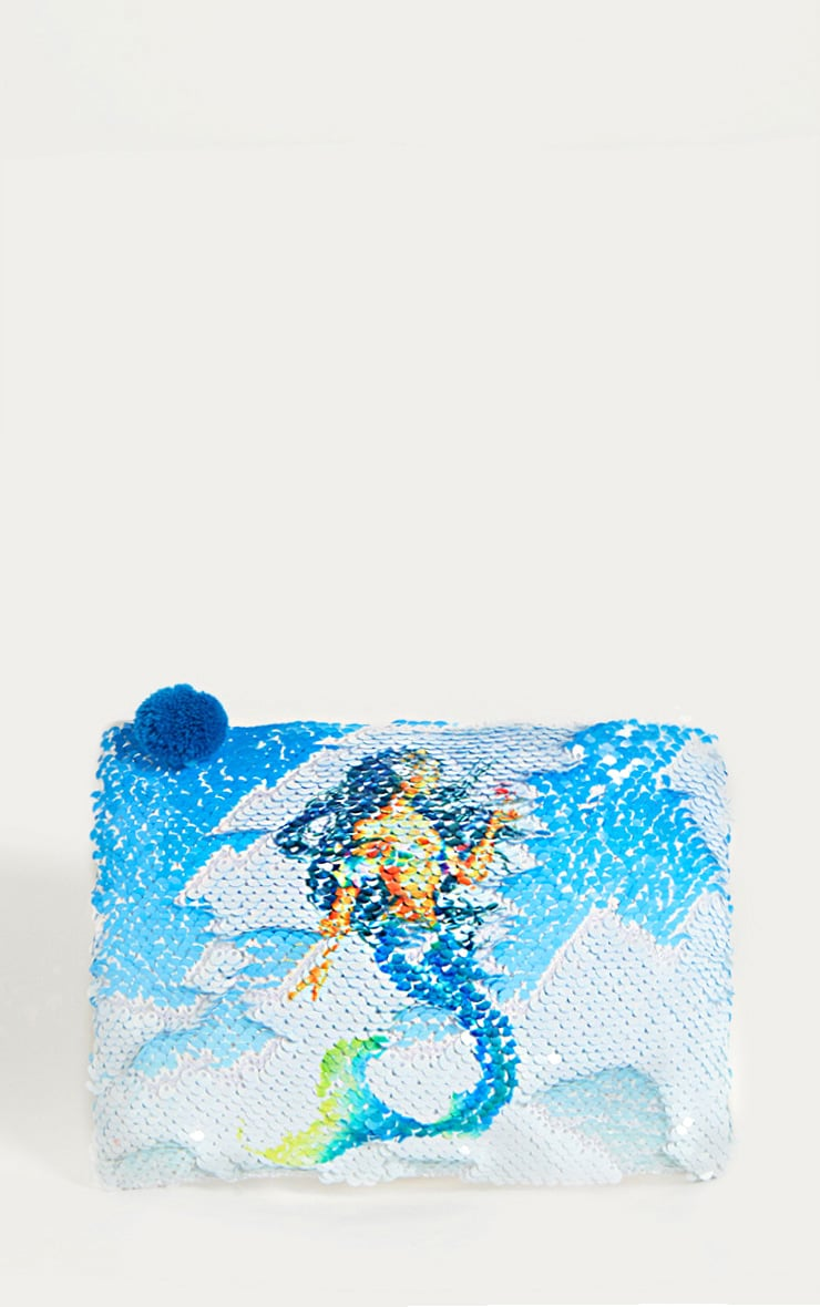 White Sequin Mermaid Make-Up Bag