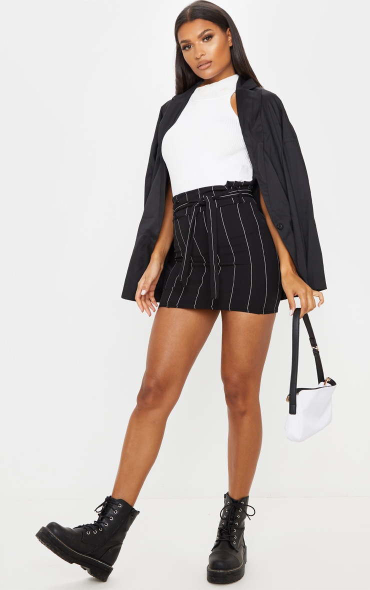 Black Pinstripe Tie Waist Mini Skirt 2