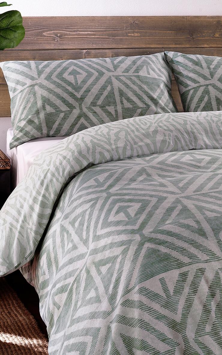 Sage Aztec Zebra Reverse Print Double Duvet Set