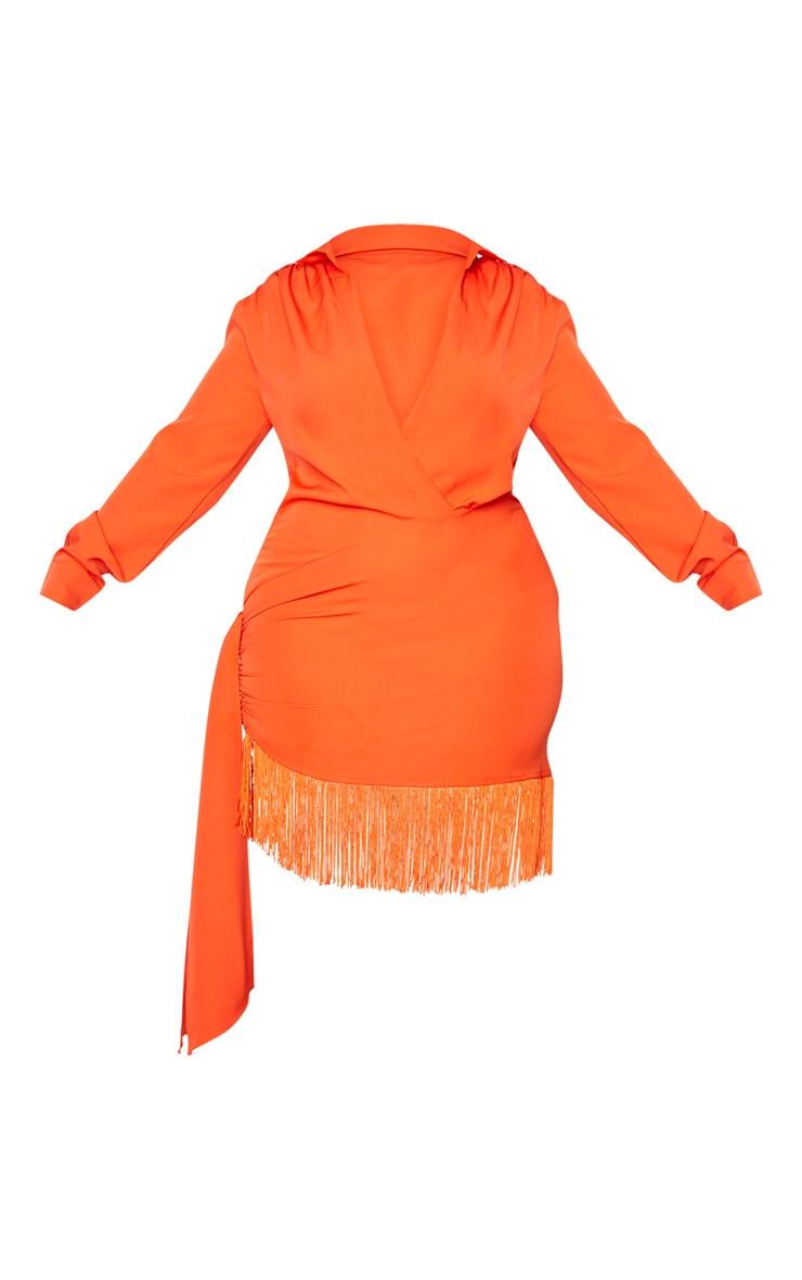 Plus Orange Long Sleeve Tassel Hem Drape Detail Bodycon Dress 5