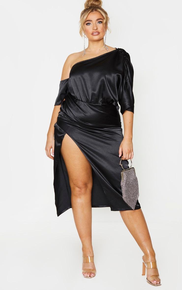 Plus Black Satin One Shoulder Ruched Skirt Midi Dress 1