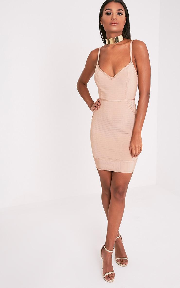 Emily Camel Strappy Bandage Bodycon Dress 5