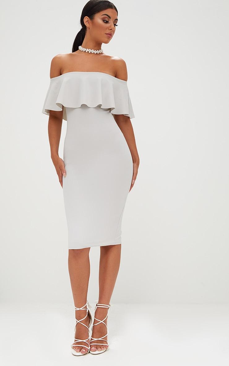 Ice Grey Bardot Frill Midi Dress  4