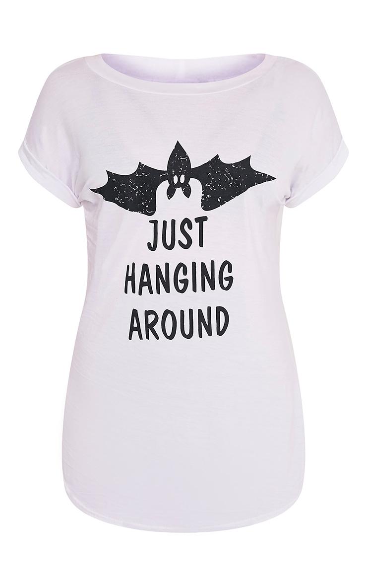 JUST HANGING AROUND Slogan White Oversized T Shirt 4